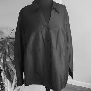 Black silk button down blouse 20